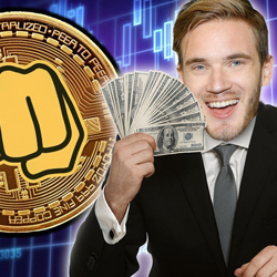 PewDiePie wearing a suit and holding cash in hand